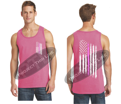 Pink Thin Pink Line Tattered American Flag Tank Top