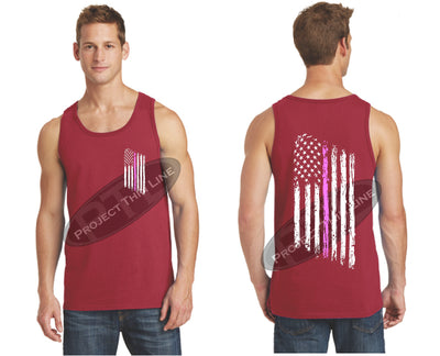 Red Thin Pink Line Tattered American Flag Tank Top
