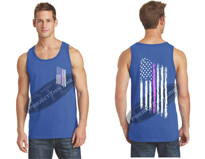 Royal Thin Pink Line Tattered American Flag Tank Top