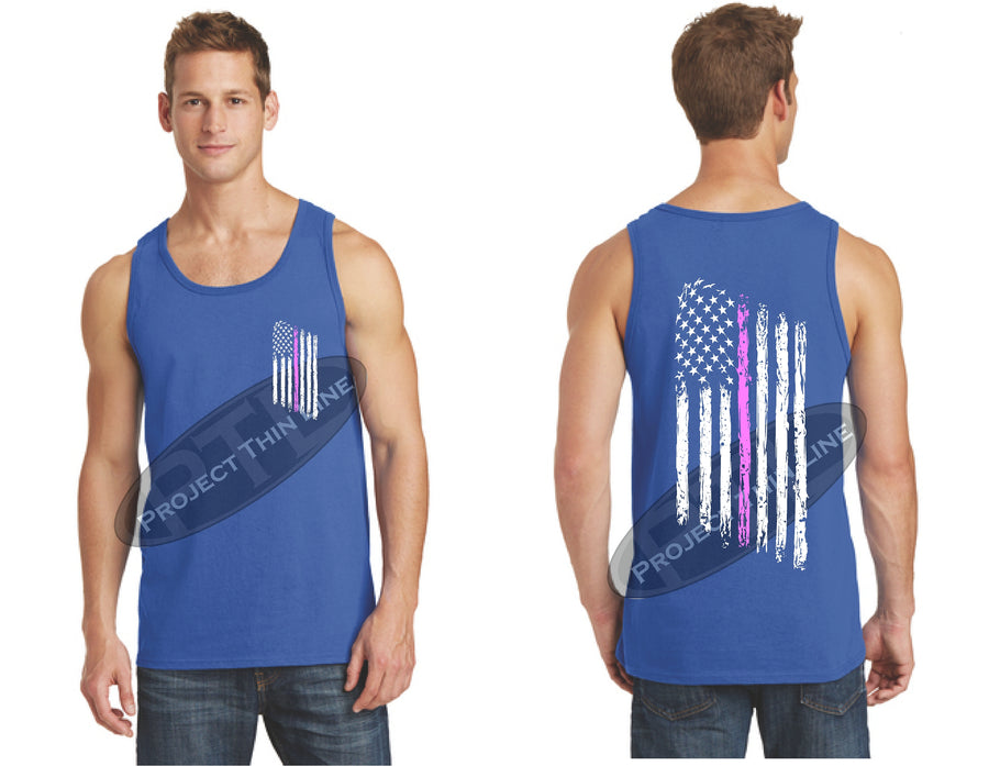 Black Thin Pink Line Tattered American Flag Tank Top