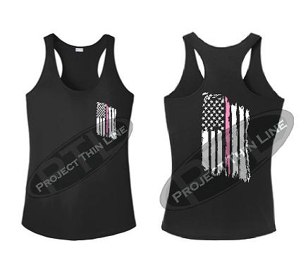Black Tattered Thin Pink Line American Flag Racerback Tank Top