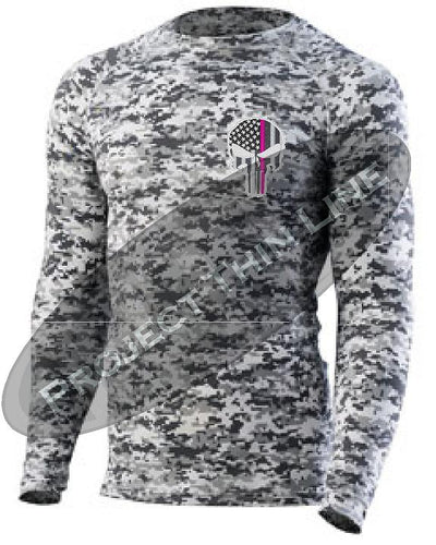Digital Camo Embroidered Thin PINK Line Punisher Skull inlayed American Flag Long Sleeve Compression Shirt