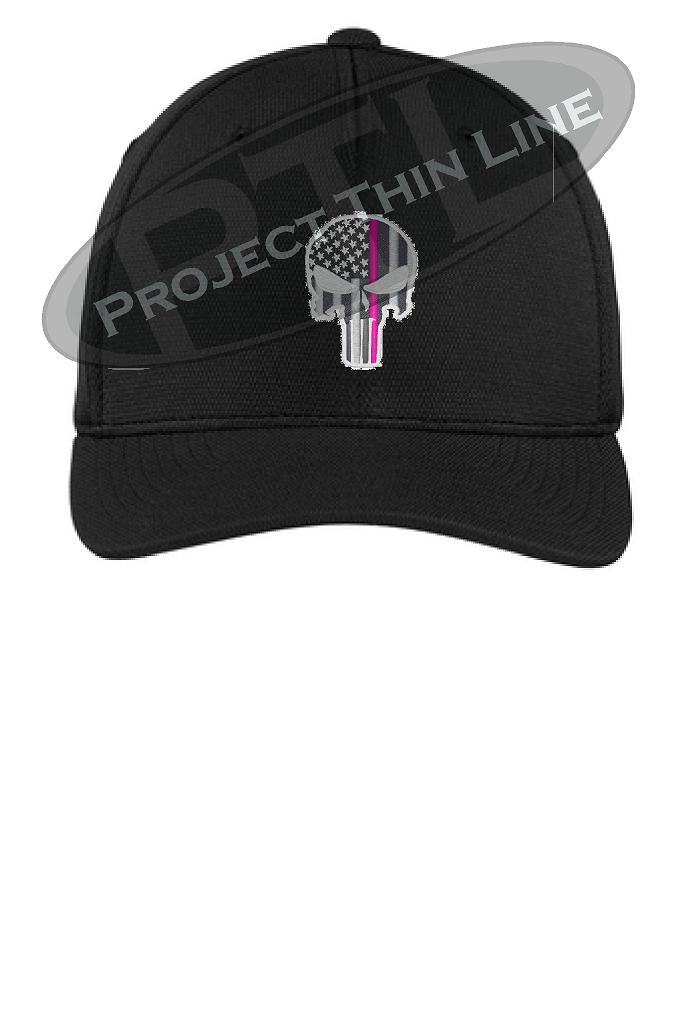 Black Embroidered Thin Pink Line Punisher Skull inlayed with the American Flag Flex Fit Fitted Hat