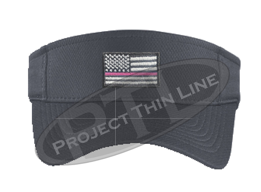Black Embroidered Thin Pink Line American Flag Visor