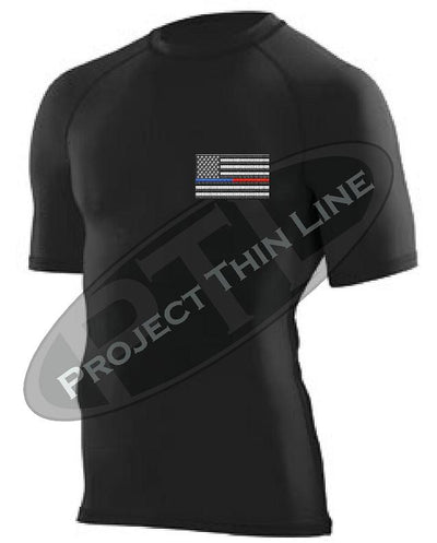 BLACK Embroidered Thin Blue / RED Line American Flag Short Sleeve Compression Shirt