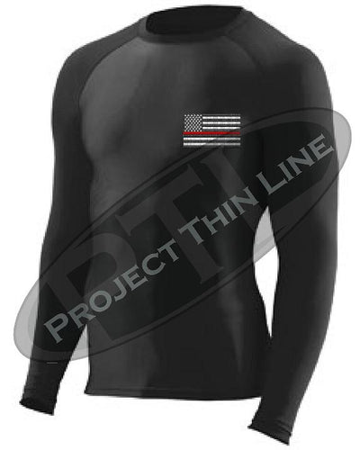 Black Embroidered Thin RED Line American Flag Long Sleeve Compression Shirt