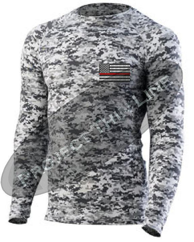 Digital Camo Embroidered Thin RED Line American Flag Long Sleeve Compression Shirt
