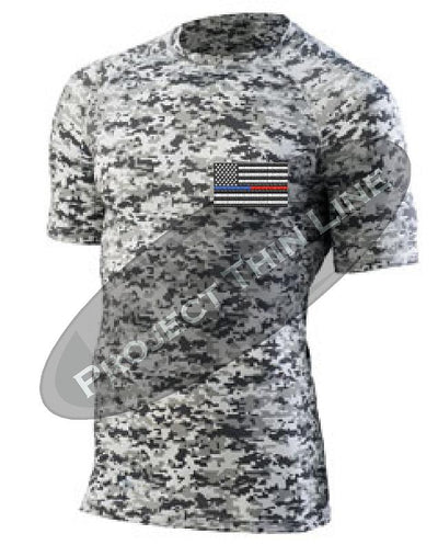 Digital Camo Embroidered Thin Blue / RED Line American Flag Short Sleeve Compression Shirt