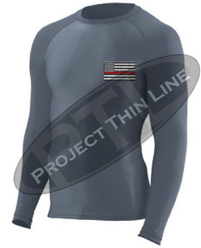 Charcoal Embroidered Thin RED Line American Flag Long Sleeve Compression Shirt