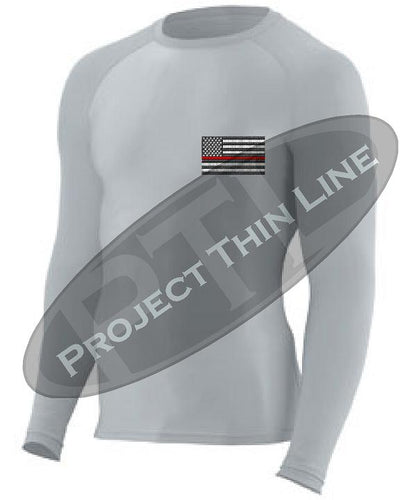 Light Grey Embroidered Thin RED Line American Flag Long Sleeve Compression Shirt