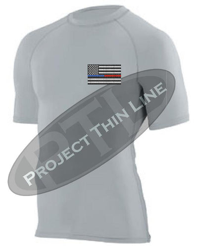 Light Grey Embroidered Thin Blue / RED Line American Flag Short Sleeve Compression Shirt