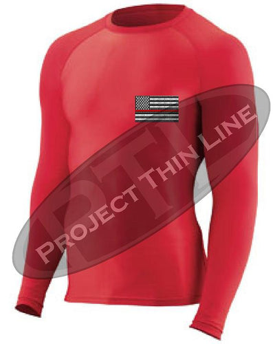 Red Embroidered Thin RED Line American Flag Long Sleeve Compression Shirt
