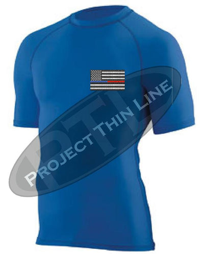 Royal Embroidered Thin Blue / RED Line American Flag Short Sleeve Compression Shirt