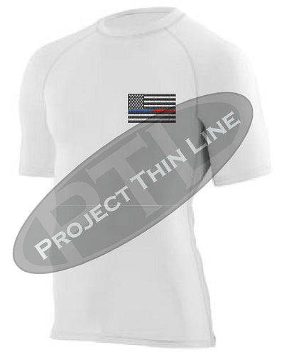White Embroidered Thin Blue / RED Line American Flag Short Sleeve Compression Shirt