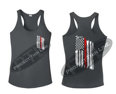 Charcoal Tattered Thin RED Line American Flag Racerback Tank Top