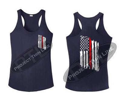 Navy Blue Tattered Thin RED Line American Flag Racerback Tank Top