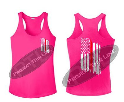 Pink Tattered Thin RED Line American Flag Racerback Tank Top