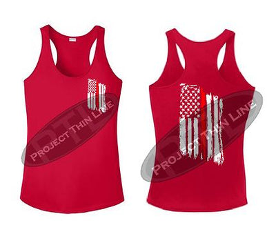 Red Tattered Thin RED Line American Flag Racerback Tank Top
