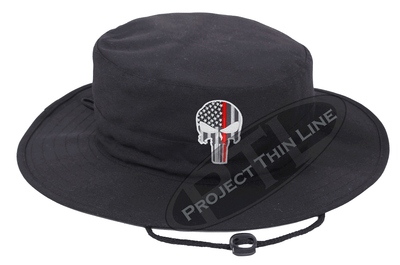 Black Boonie Hat with embroidered Subdued Thin RED Line Punisher