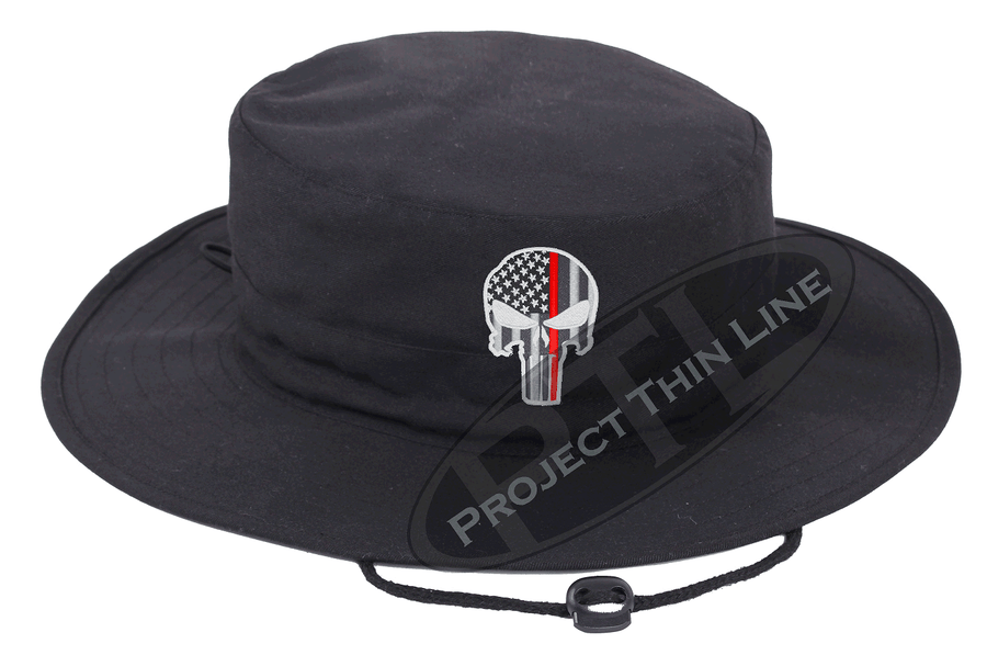 Embroidered Thin RED Line Punisher Skull inlayed with the American Flag Boonie Adjustable Hat