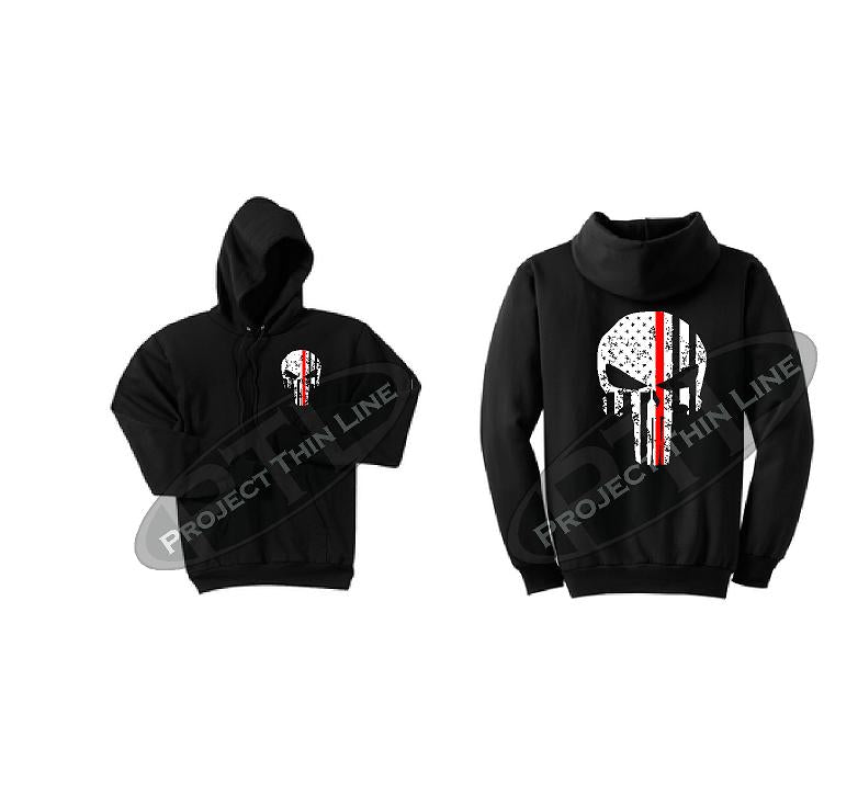 Thin RED Line Punisher Skull inlayed with the Tattered American Flag Hooded Sweatshirt