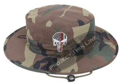 Camouflage Boonie Hat with embroidered Subdued Thin RED Line Punisher