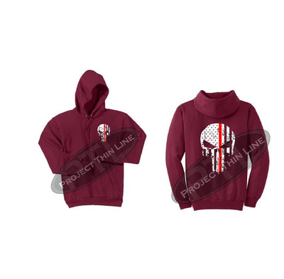 Red Thin RED Line Punisher Skull inlayed with the Tattered American Flag Hooded Sweatshirt