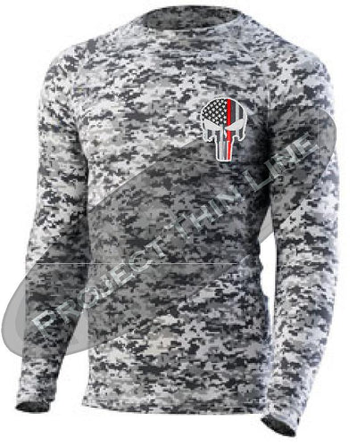 Digital Camo Embroidered Thin RED Line Punisher Skull inlayed American Flag Long Sleeve Compression Shirt