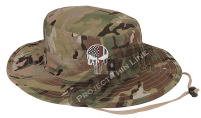 Jungle Camouflage Boonie Hat with embroidered Subdued Thin RED Line Punisher
