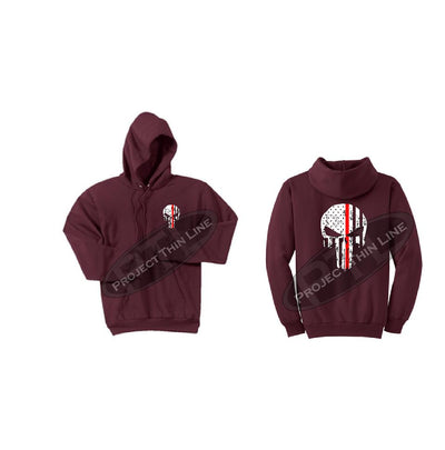 Maroon Thin RED Line Punisher Skull inlayed with the Tattered American Flag Hooded Sweatshirt