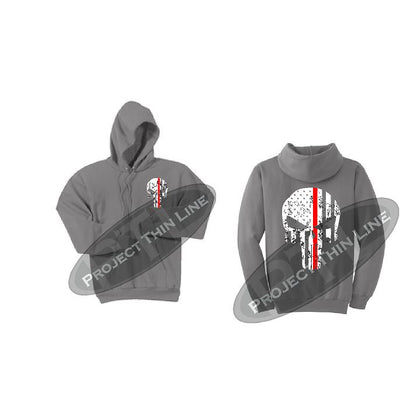 Medium Grey Thin RED Line Punisher Skull inlayed with the Tattered American Flag Hooded Sweatshirt