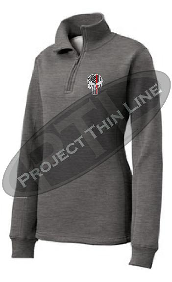 Medium Grey Women's Thin Red Line Punisher Skull 1/4 Zip Fleece Sweatshirt