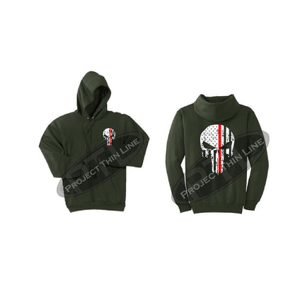 Olive Green Thin RED Line Punisher Skull inlayed with the Tattered American Flag Hooded Sweatshirt