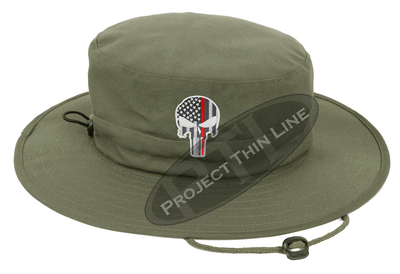 Olive Green Boonie Hat with embroidered Subdued Thin RED Line Punisher