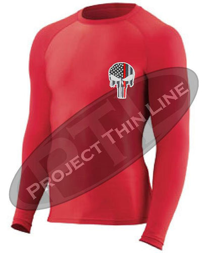 Red Embroidered Thin RED Line Punisher Skull inlayed American Flag Long Sleeve Compression Shirt