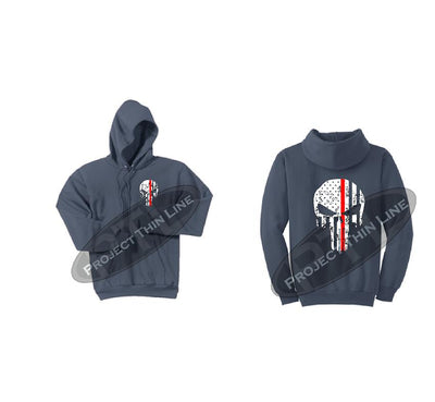 Steel Blue Thin RED Line Punisher Skull inlayed with the Tattered American Flag Hooded Sweatshirt