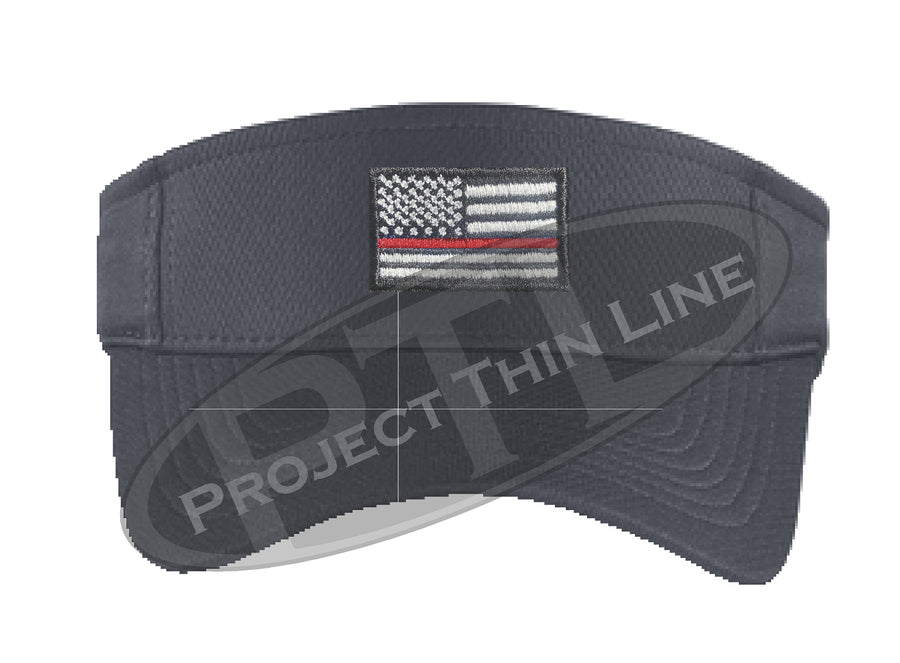 Black Embroidered Thin Red Line American Flag Visor