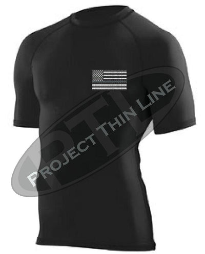 Black Embroidered Tactical Subdued American Flag Short Sleeve Compression Shirt