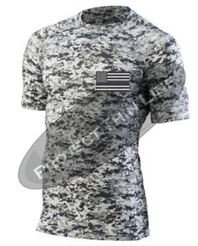 Digital Camo Embroidered Tactical Subdued American Flag Short Sleeve Compression Shirt