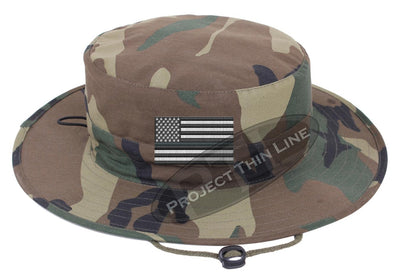Embroidered Thin SILVER Line American Flag Boonie Adjustable Hat