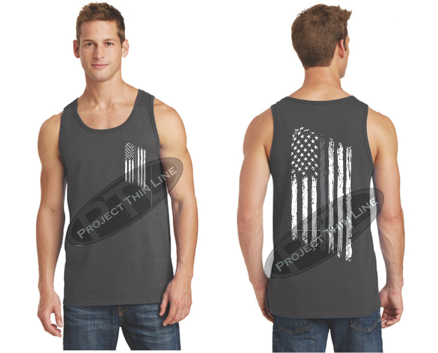 Thin Silver Line Tattered American Flag Tank Top