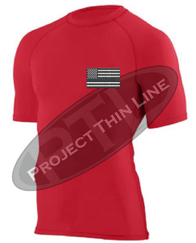 Red Embroidered Tactical Subdued American Flag Short Sleeve Compression Shirt