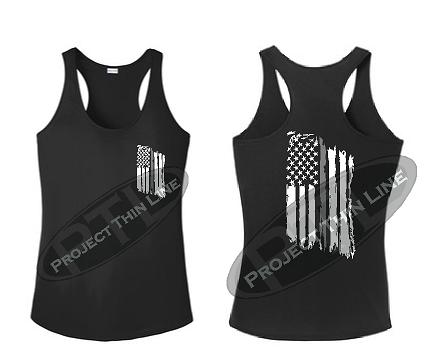 Black Tattered Thin SILVER Line American Flag Racerback Tank Top