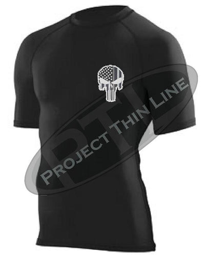 BLACK Embroidered Tactical Punisher Skull inlayed Subdued American Flag Short Sleeve Compression Shirt