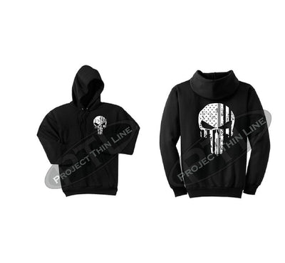 Black Thin SILVER Line Punisher Skull inlayed with the Tattered American Flag Hooded Sweatshirt