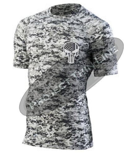 Digital Camo Embroidered Tactical Punisher Skull inlayed Subdued American Flag Short Sleeve Compression Shirt
