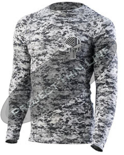 Digital Camo Embroidered Tactical Punisher Skull inlayed American Flag Long Sleeve Compression Shirt