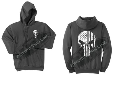 Charcoal Thin SILVER Line Punisher Skull inlayed with the Tattered American Flag Hooded Sweatshirt