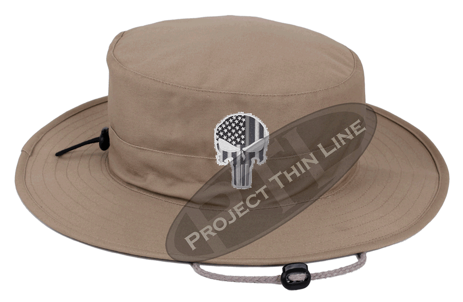Desert Camouflage with Subdued Thin SILVER Line Punisher Boonie Hat