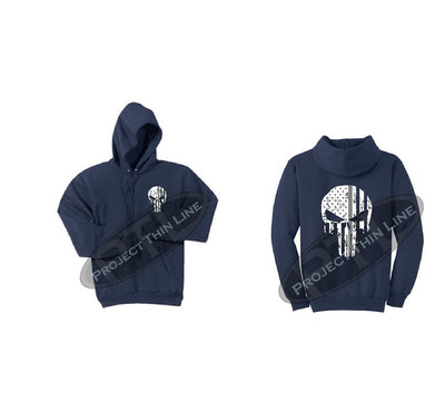 Navy Blue Thin SILVER Line Punisher Skull inlayed with the Tattered American Flag Hooded Sweatshirt
